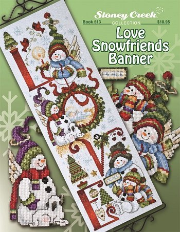 Love Snowfriends Banner (Book 513) Cross Stitch Chart and Free Embellishment