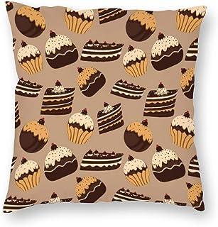 SedExd Housse de Coussin de Voiture carrée décorative pour Le canapé lit Bar Chat Club Bar 45 x 45 cm,Chocolat pâtisseries...
