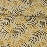 Dekostoff senfgelb Palmenblätter dunkelgrau Canvasstoff