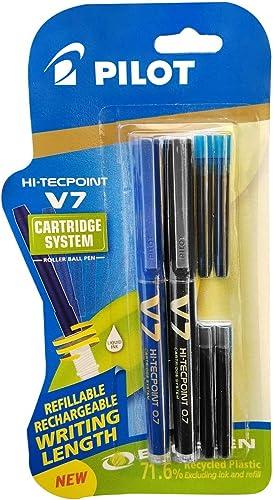 Pilot V7 Hi-tecpoint Pen with cartridge system - 1 Blue, 1 Black Pen, 2 Blue cartridges, 2 Black cartridges product image