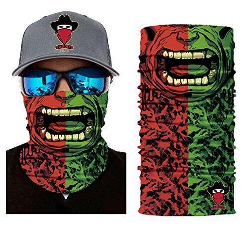 Bandits Team I Bedrucktes Multifunktionstuch I Face Shield aus Mikrofaser- fürs Motorrad-, Fahrrad- und Skifahren I Farbe: Hulk I 1er Pack