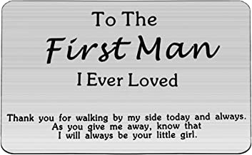 WUSUANED Father of The Bride Gift to The First Man I Ever Loved Engraved Wallet Insert Card Wedding Gift for Dad