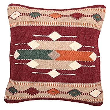 Throw Pillow Covers, 18 X 18, Hand Woven in Southwest and Native American Styles. Hand Crafted Western Decorative Pillow Cases in Wool. (Cortez 13)