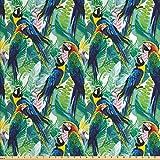 Lunarable Papageien Stoff von The Yard, bunte Papageien