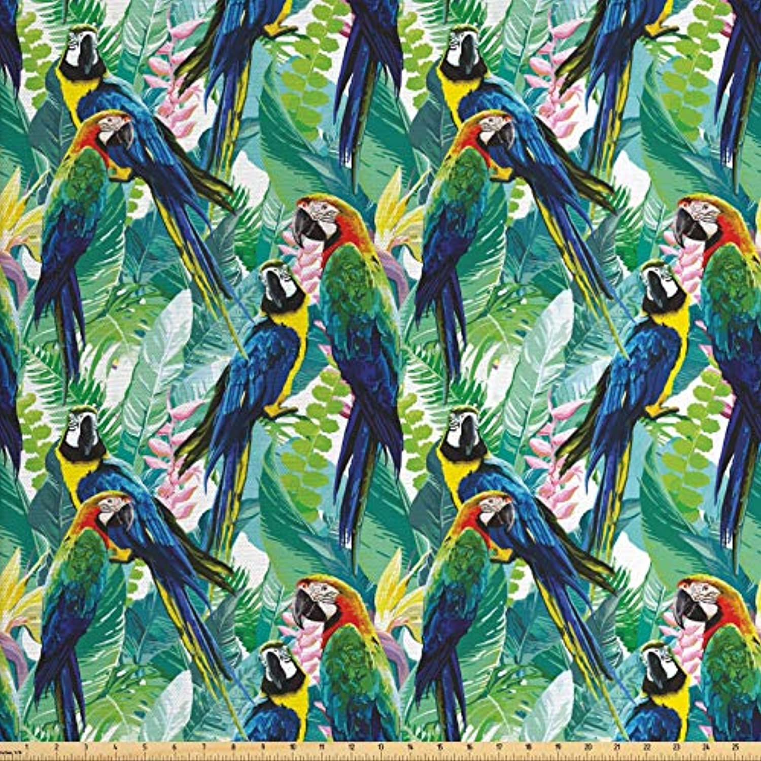 Lunarable Parrots Fabric by The Yard, Colorful Parrots Tropic Flowers Warm Weather Gardens Vacation Traveling, Decorative Fabric for Upholstery and Home Accents, 2 Yards, Navy Blue Green Yellow