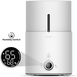 iTvanila Cool Mist Humidifier & Essential Oil Diffuser, 4.5L Humidifiers for Large Bedroom Baby, Automatic Humidity Keeping with LED Display, Whisper-Quiet Operation, Lasts Up to 48 Hours(Z1)