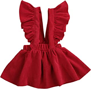 Toddler Baby Girl Velvet Backless Ruffle Strap Overalls Skirt Solid Suspender Tutu Dress Fall Spring Summer Clothes