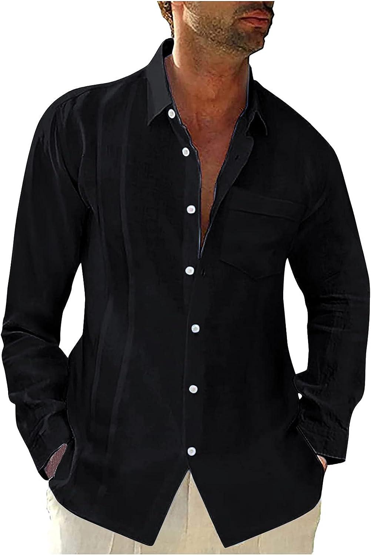 Mens Spread Collar Button Down Shirt Long Sleeve Slim Fit Cotton Linen Casual Beach Summer Plain Tops