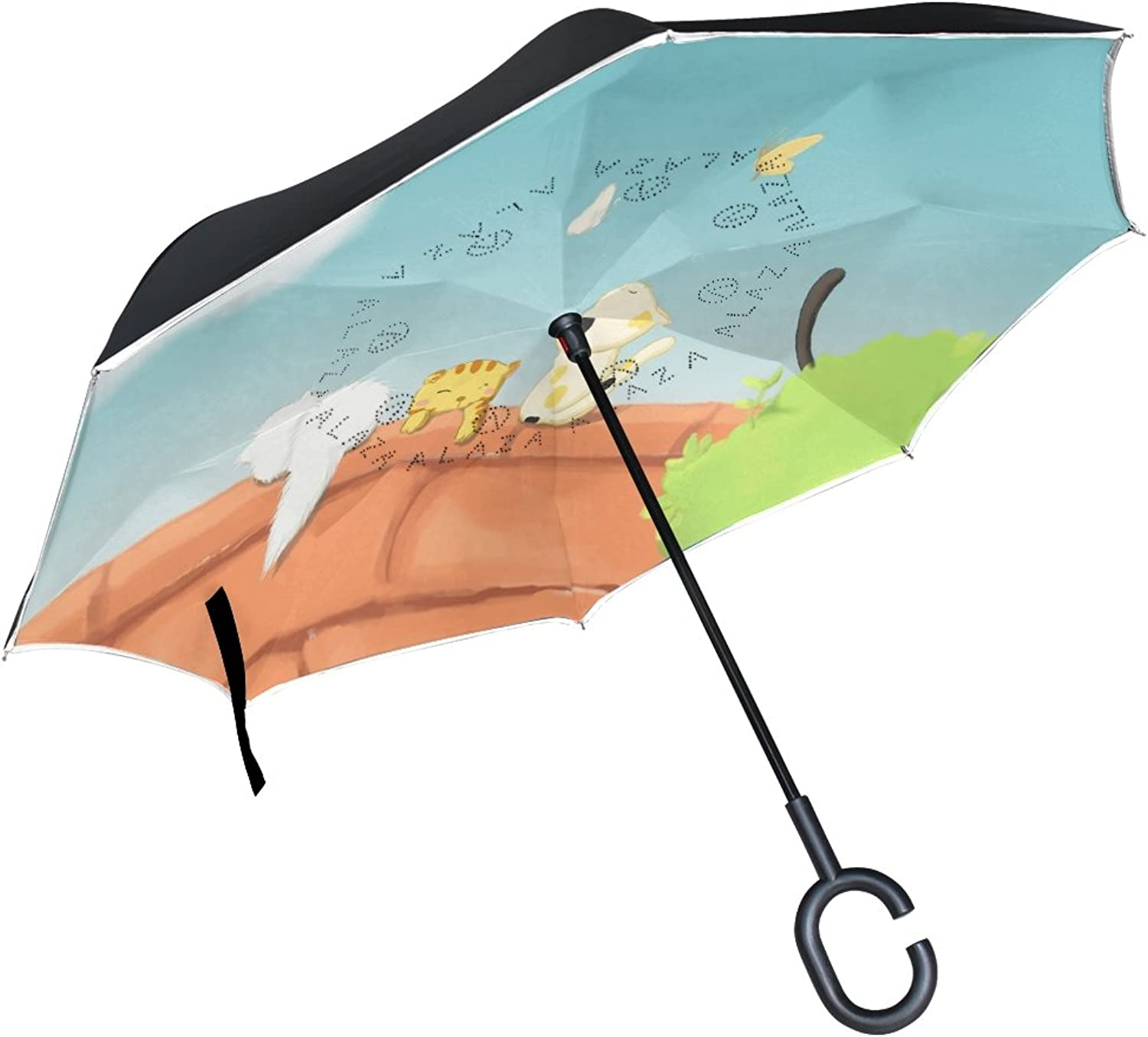 OREZI Double Layer Ingreened Umbrella Reverse Umbrella,Windproof UV Predection Big Straight Umbrella Inside Out Travel Umbrella for Rain Outdoor with CShaped Handle,Cat Play with Butterfly Umbrella