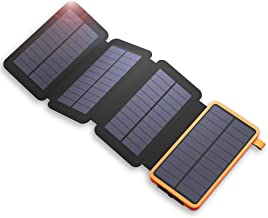 Solar Charger X-DRAGON 20000mAh Outdoor Portable Power Bank with 4 Solar Panels, Dual USB, LED Flashlight Waterproof External Battery Pack Compatible with iPhone, Tablets, ipad, Most Smartphone, etc