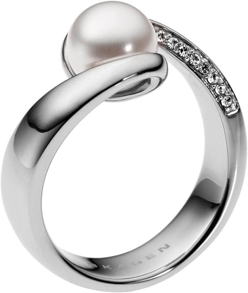 Skagen anello da donna in acciaio inossidabile con finitura brillante SKJ0091040-503