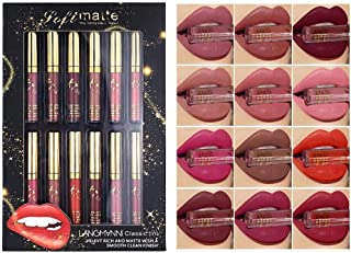 Awhao 12 Colors Matte Velvety Liquid Lipstick Set Waterproof Long Lasting Lipgloss Makeup Kit Nude Velvet Lip Gloss Beauty...