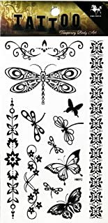 PP TATTOO 1 Sheet Butterfly Insect bee Dragonfly Flower Tattoo Cartoon Sticker Waterproof Temporary Tattoos for Men Girls Women Makeup Body Art Fake Tattoo