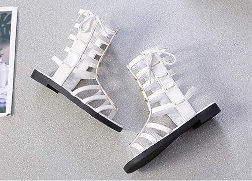 YOPAIYA Femme Sandal Sandales,Femmes Blanches Haute Aide Tube Tube Sandales Chaussures Plates Grandes Sandales Vierges Lanières Bout Ouvert Rivets Creux Bottes Romaines  livraison et retours gratuits