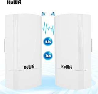 KuWFi Kit CPE esterno wireless da 900 Mbps da 2 pacchetti, Bridge/CPE wireless point-to-point per interni ed esterni Suppo...