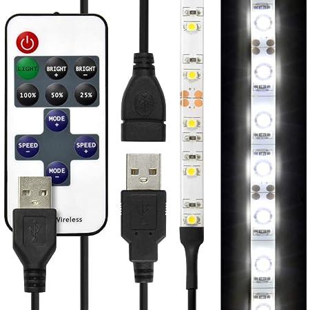 (リモコン式 USB延長ケーブル付) LEDテープライト 貼レルヤ USB (昼光色) 50cm 30灯 両面テープで好きな場所に貼り付け可能 ハサミでカットして長さを変えられます 6000K JTT Online LEDTLHAUDL05M