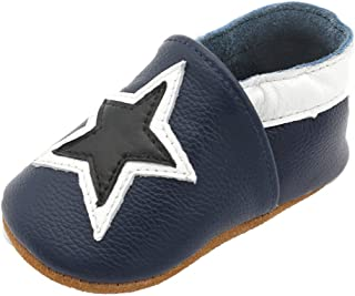 LPATTERN Baby Boys/Girls Soft Leather First Walking Shoes Baby Infant & Toddler Shoes, Black Star in Dark Blue, 12-18 Months(Label: L)
