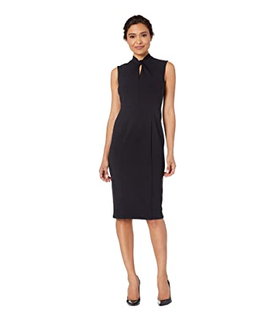 Donna Morgan Sleeveless Crepe Dress with Tie Knot Front (Marine Navy) Women