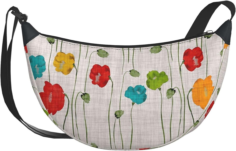 Green Flowers Finally popular brand Tampa Mall Of Poppies Casual Bag Hi Travel Diagonal Shoulder