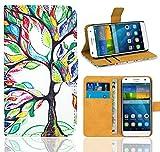 Huawei Ascend G7 Handy Tasche, FoneExpert® Wallet Hülle Flip Cover Hüllen Etui Ledertasche Lederhülle Premium Schutzhülle für Huawei Ascend G7 (Pattern 5)