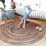 Home rugs Alfombras Redondas Lavables Respetuosas del Medio Ambiente Alfombras Hechas A Mano 100% De Fibra Natural para La Sala De Estar (Color : A, Tamaño : 150 cm Round)