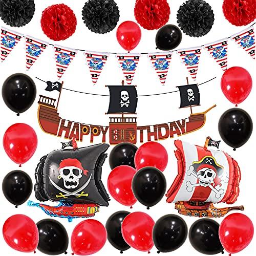 Pirata Cumpleaños Decoracion Pirata Globos Cumpleaños Decoracion Aluminio Globos Barco Pirata Pancarta Decoración Bandera Pirata Fiesta de Cumpleaños de Cráneo