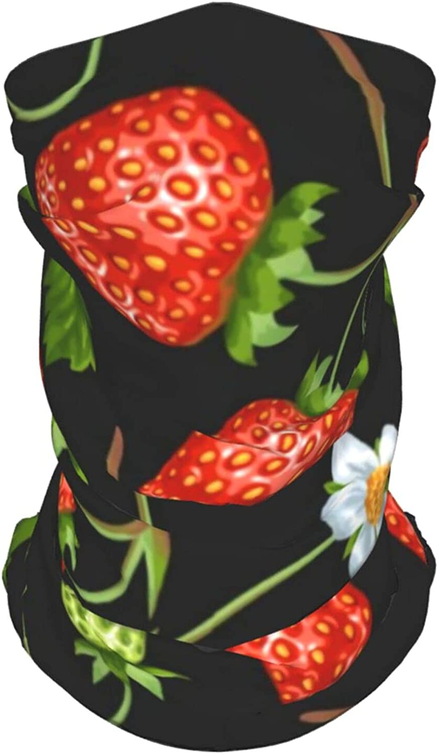 Red Strawberry 4060 Neck Gaiter Multipurpose Headwear Ice Silk Mask Scarf Summer Cool Breathable Outdoor Sport 2 Pcs
