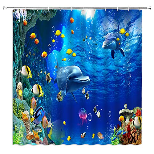 BST Underwater World Shower Curtain Dolphin Tropical Fish Sea Marine Life Sunlight 3D Print Bathroom Curtains Decor Polyester Fabric Quick Drying 70X70 Inches Include Hooks …