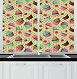 Ambesonne Coffee Kitchen Curtains, Coffee Shop Bakery Inspired Tasty Cupcake Pattern on a Polka Dot Hearts Backdrop, Window Drapes 2 Panel Set for Kitchen Cafe Decor, 55' X 39', Pink Green
