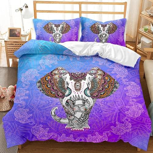QQMHG Juego de cama 3D bohemio para niña con diseño de elefante, funda nórdica de 135 x 200 cm y 1 funda de almohada de 50 x 75 cm (A-3,155 x 220 cm + 2 x 50 x 75 cm)