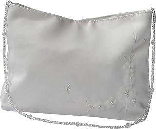 hochzeits-shop-hamburg Brauthandtasche Blüten mit Perlenkette Ivory Masse ca.19  12cm