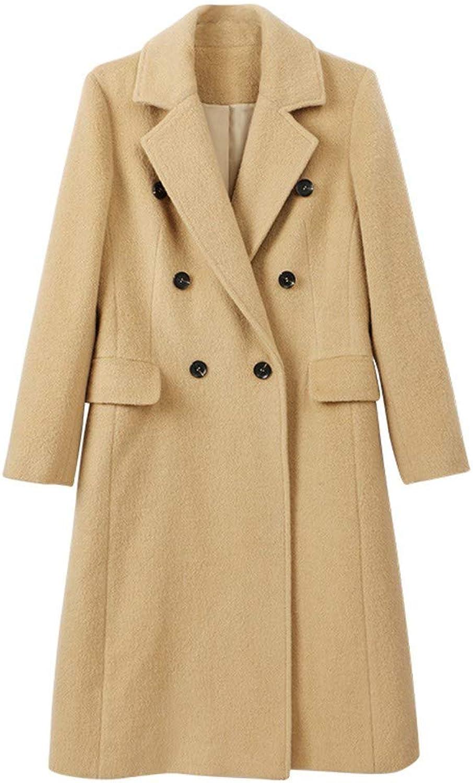 SHKAC Mantel Mittellanger Mantel Herbstliches Damenkleid Zweireihiger Mantel In Reiner Farbe.