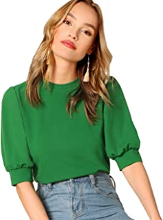 Women's Puff Sleeve Casual Solid Top Pullover Keyhole Back Blouse