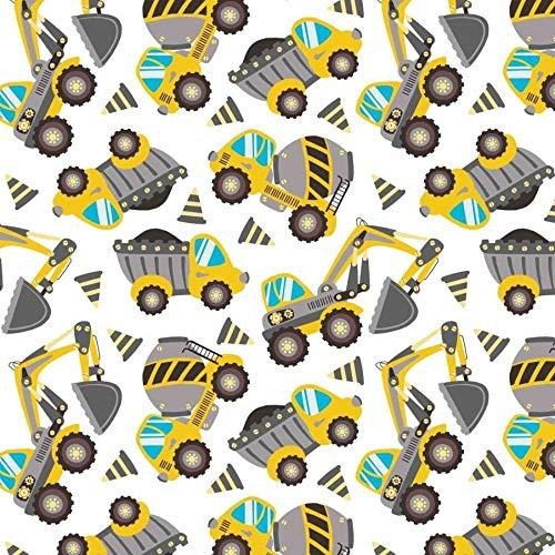 Pingiane, tessuto jersey per auto Bulli escavatore, al metro, 94% cotone, 6% elastan, 50 x 165 cm, al metro, per lavori di cucito (macchina da costruzione, escavatore, 50 x 165 cm)