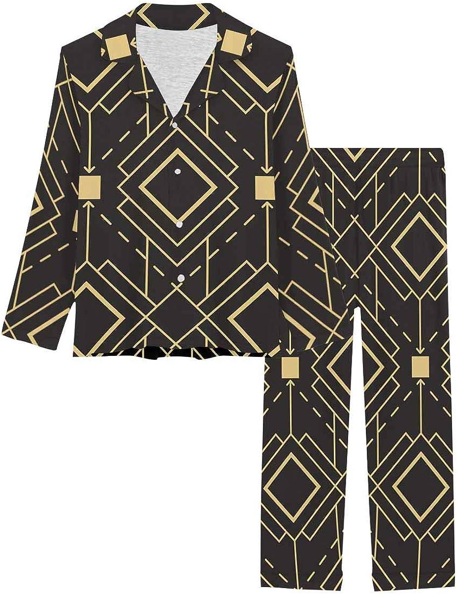 InterestPrint Long Sleeve Button Down Nightwear with Long Pants Abstract Art Decogolden