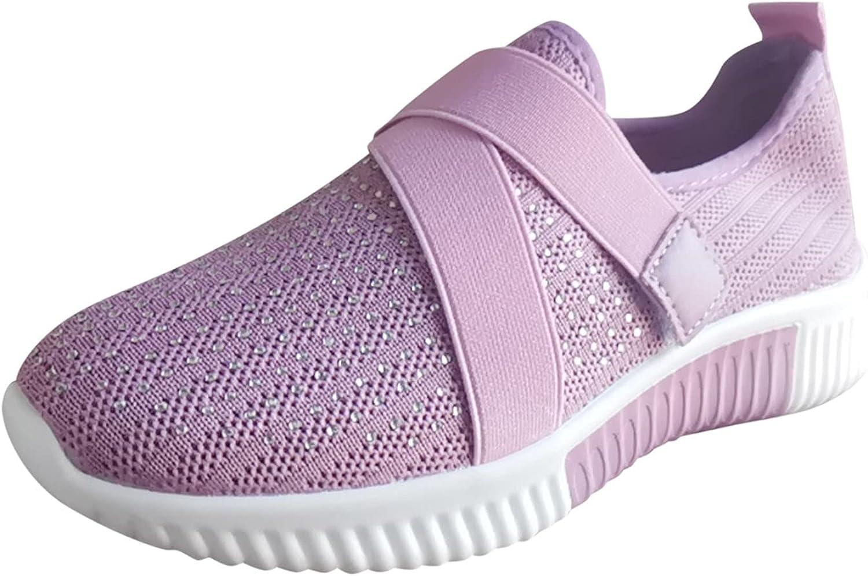 GNiwerb Sports Shoes Women's Mesh Flying Woven Comfortable Slip on Easy Sneakers Sock Walkingshoe Casual Running Shoe