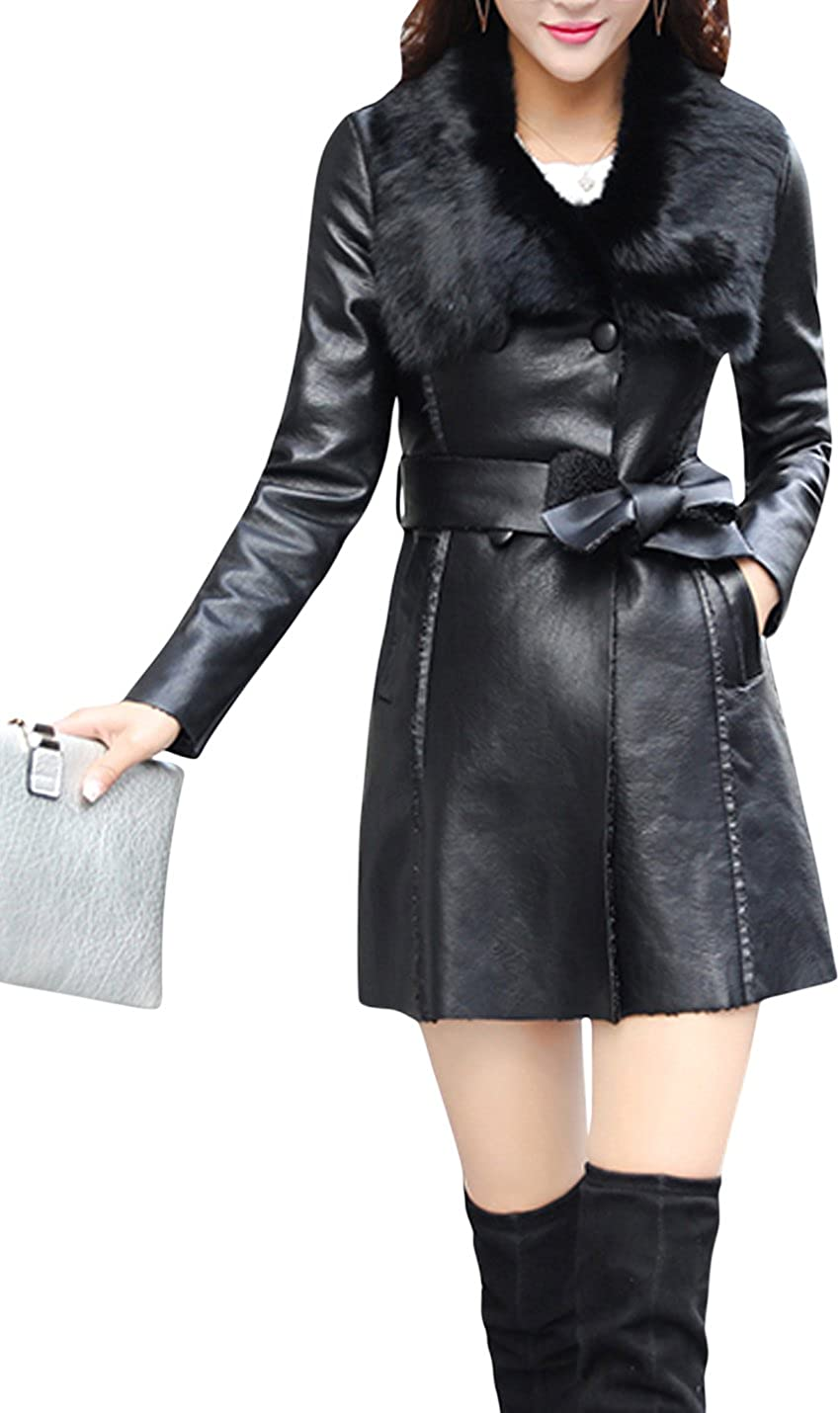 Tampa Mall National uniform free shipping Springrain Women's Slim Fur Collar Stitching Double Breasted Mid