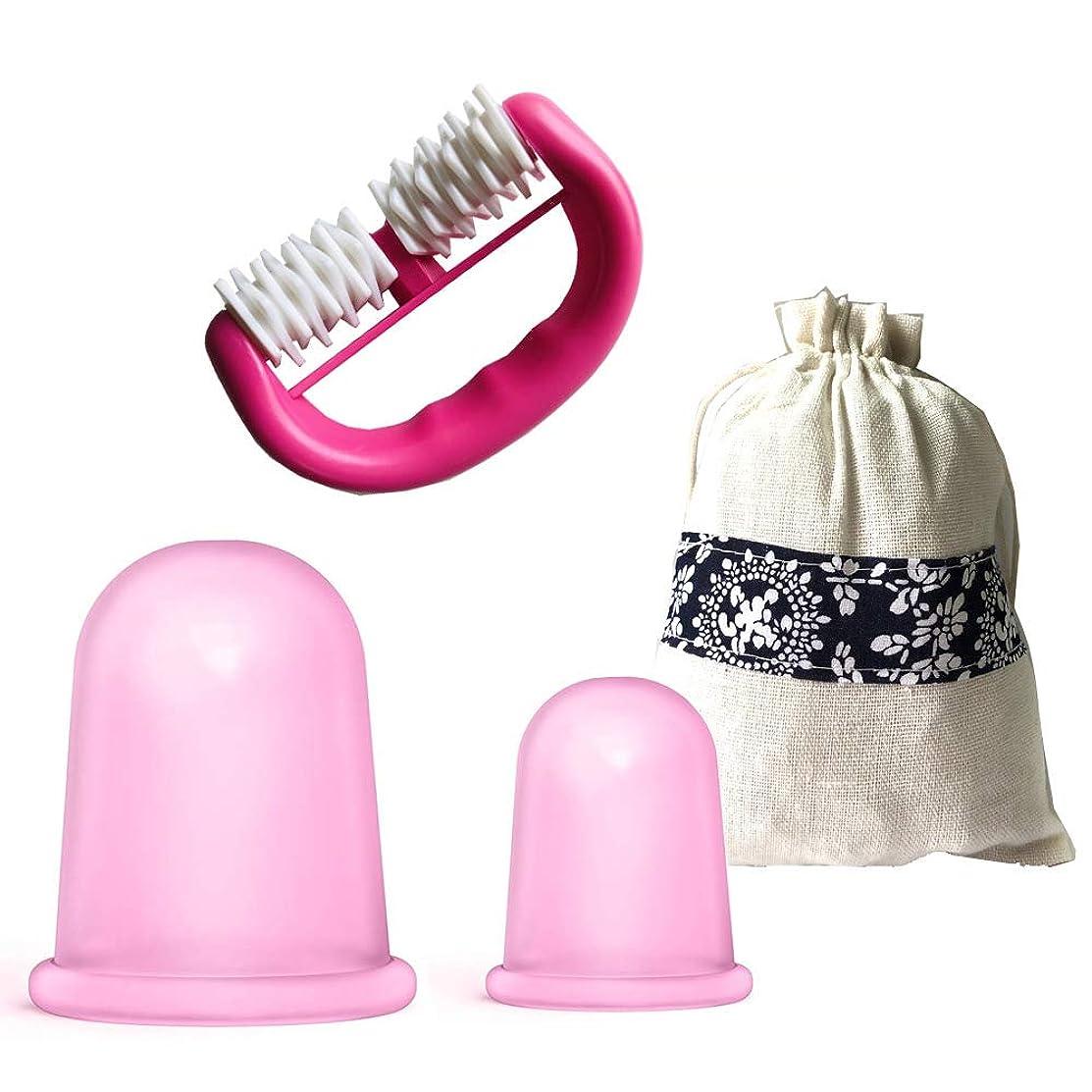 オリエンテーションワックス貨物セルライトカッピングセラピーセットシリコンカッピングマッサージカップモイスチャーガシャ+ローラーマッサージャー付きギフトバッグ,Pink