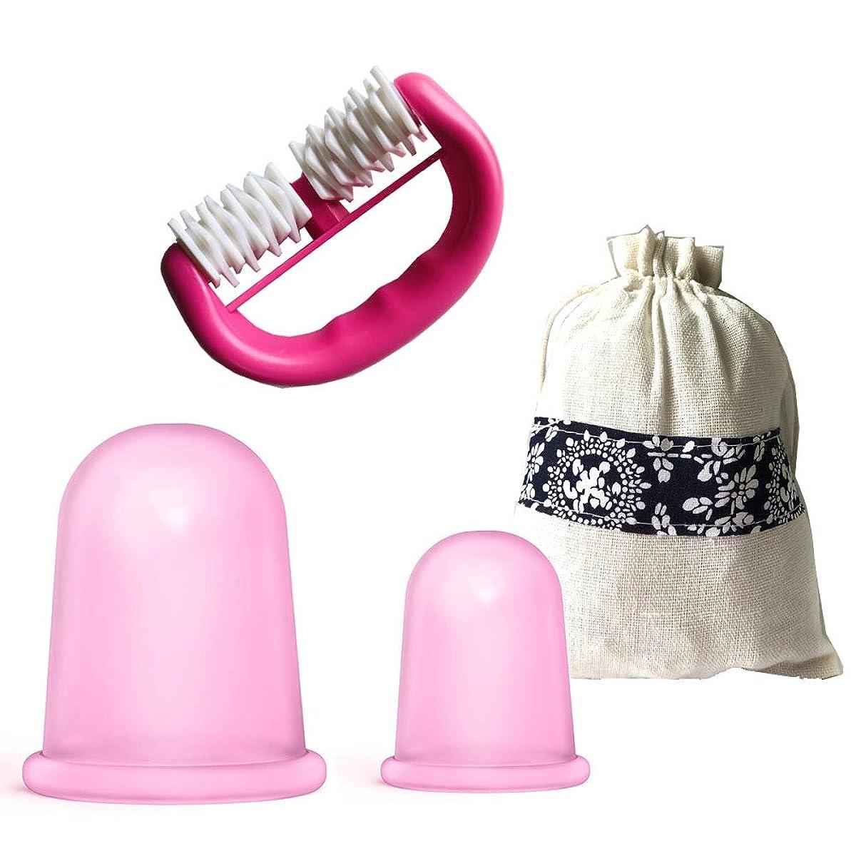中亡命意志セルライトカッピングセラピーセットシリコンカッピングマッサージカップモイスチャーガシャ+ローラーマッサージャー付きギフトバッグ,Pink