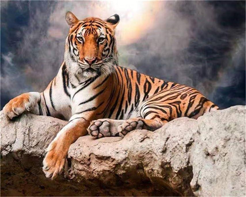 ガム神反論者CaptainCrafts 数字による新しいペイント大人初心者向け, DIYの印刷済みリネンキャンバスの油絵キット家の装飾のギフト16x20インチ - 虎の動物 (フレーム付き)