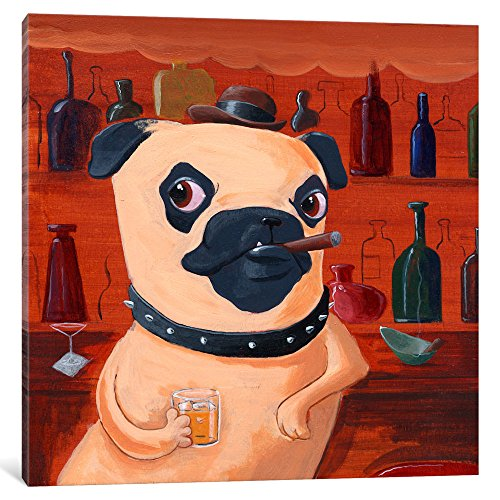 iCanvasART Pug at Bar By Brian Rubenacker Canvas Print #1204...