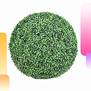 Happy Screen 4 Layers Leaves Artificial Topiary Ball – 2 Pcs 19″ Inch Decorative Orb Boxwood Ball Filler – Indoor/Outdoor Faux Plant Ball for Weddings Garden Yard Porch Decor
