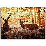 mmkow Puzzle para Adultos 1000 Piezas Dos Ciervos bajo el Sol Naciente Puzzle de Juguete Divertido Regalo de Juguete 26x38