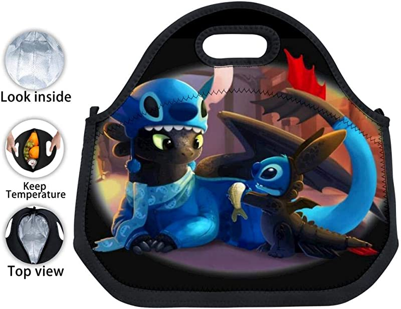 Mnliu Kk Black Neoprene Toothless And Sti Tch Lunch Tote Waterproof Insulated Thermal Lunch Bag Leakproof Lunch Box With Zipper For Adults Kids Work Outdoor Travel Picnic