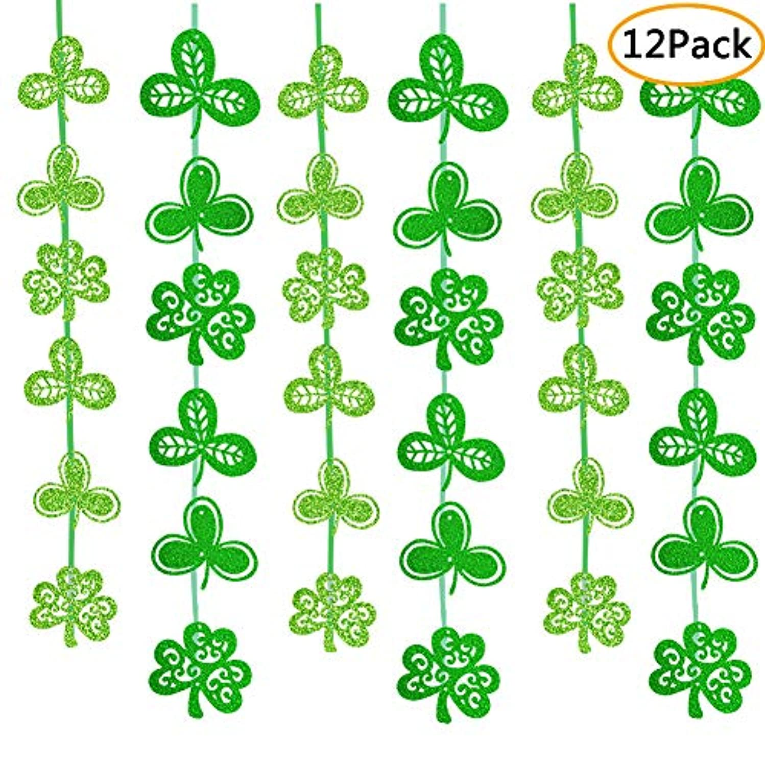 12 Pack St. Patrick's Day Shamrock Decorations-Irish Clover Hanging Ornaments Garland For Lucky St. Patrick's Day Supplies