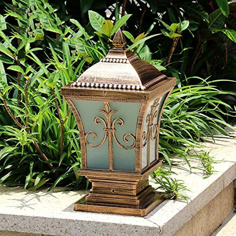 Antikes Glas Sulenlampe Tür Gartendekoration Ziegel Sulen Pfosten Poller Superhelle Sulenlampe Traditionelle E27 Aluminiumdruckguss (Farbe   Bronze-H-44cm)