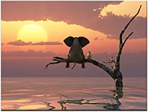 BIL-YOPIN Canvas Wall Art Animal Resting Elephant Look at The Sunset Painting 12x16inch Framed Canvas Pictures Prints Wall Decor on Canvas Stretched Artwork Ready to Hang for Living Room Bedroom