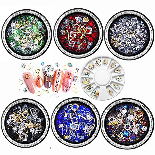 7 Boxes 3D Nail Art Rhinestones Decoration Set Nail Drill Manicure Jewelry DIY Crystals Beads Gems Nail Art Accessories Jewels Decoration Nail Art Supplies