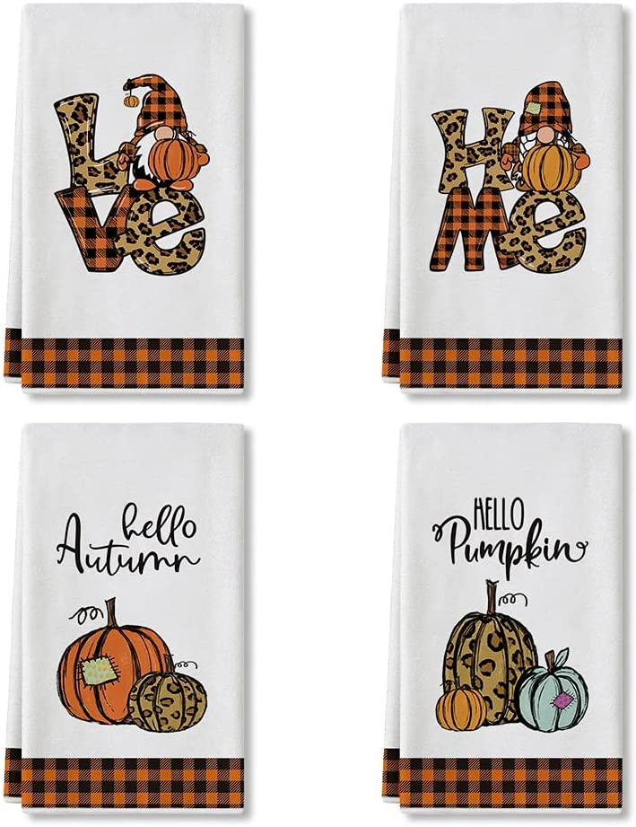 Artoid Mode Leopard Love Home Gnomes Hello Autumn Pumpkin Fall Kitchen Towels and Dish Towels, 18 x 28 Inch Harvest Thanksgiving Ultra Absorbent Drying Cloth Tea Towels for Cooking Baking Set of 4