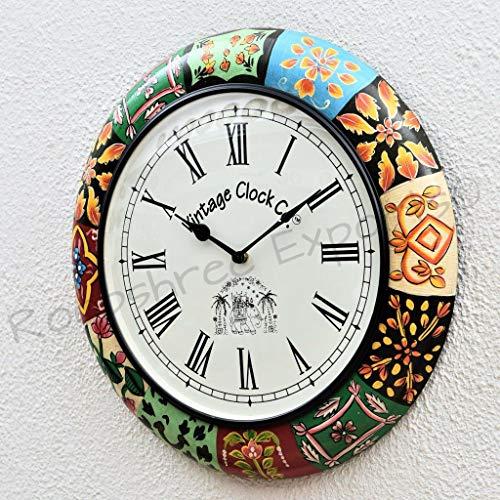 Vintage Clock Pine Wood Mdf Wall Clock (12 x 12 inch, Multicolour)